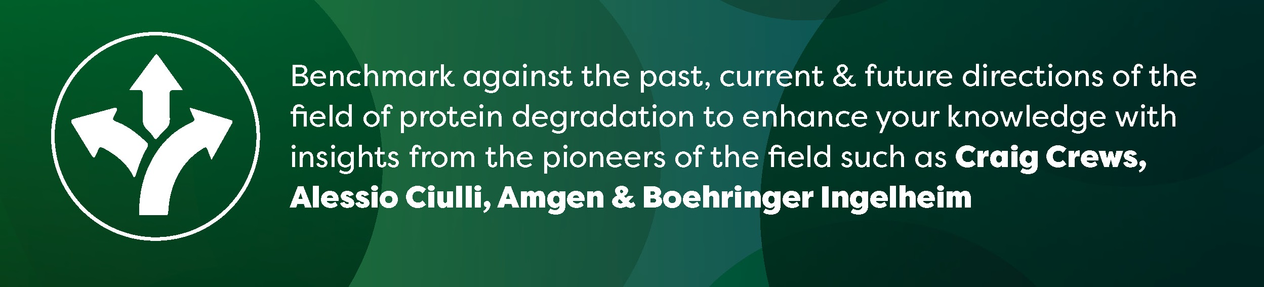 Benchmark against the past, current & future directions of the field of protein degradation to enhance your knowledge with insights from the pioneers of the field such as Craig Crews, Alessio Ciulli, Amgen & Boehringer Ingelheim