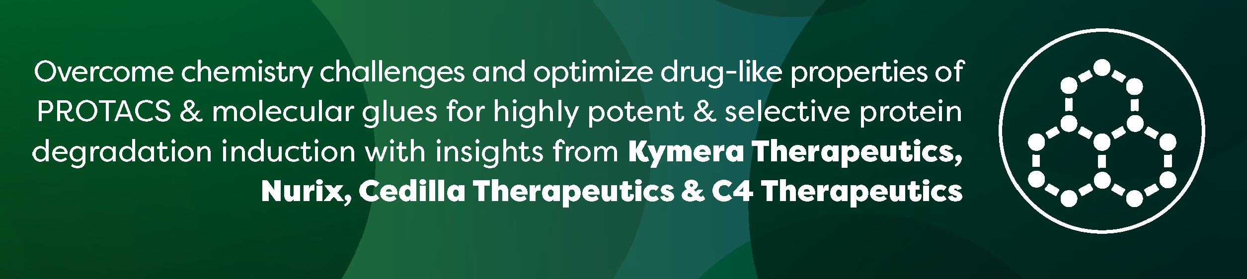 Overcome chemistry challenges and optimize drug-like properties of PROTACS & molecular glues for highly potent & selective protein degradation induction with insights from Kymera Therapeutics, Nurix, Cedilla Therapeutics & C4 Therapeutics